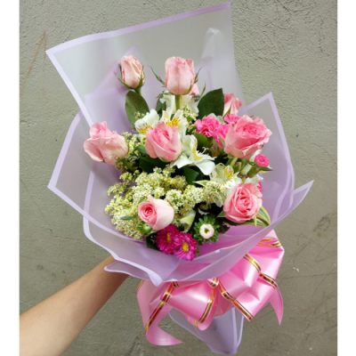 send 9 pcs. pink color roses in bouquet to cebu