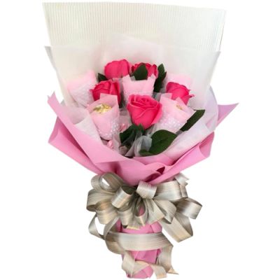 send 5 pink roses with 5 pcs. ferrero bouquet to cebu