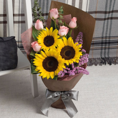 send 3 sunflower and 5 pink roses bouquet to cebu
