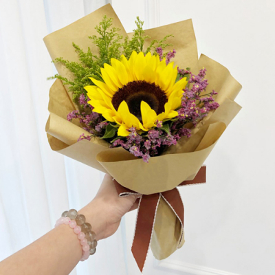 delivery single stem sunflower in bouquet to cebu