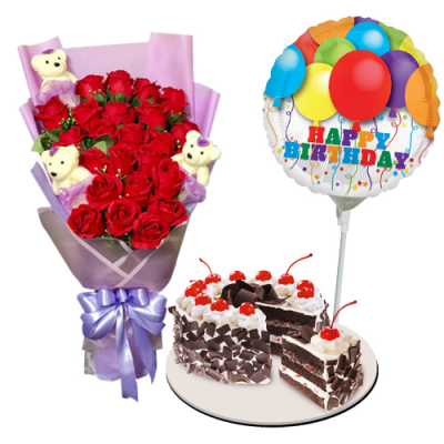 send roses bouquet with cake and balloon to cebu