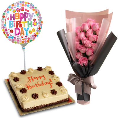 send 24 pink roses with cake and b-day balloon to cebu