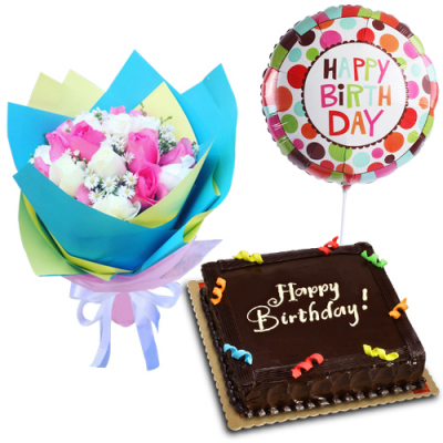 send 18 mixed roses with cake and b-day balloon to cebu
