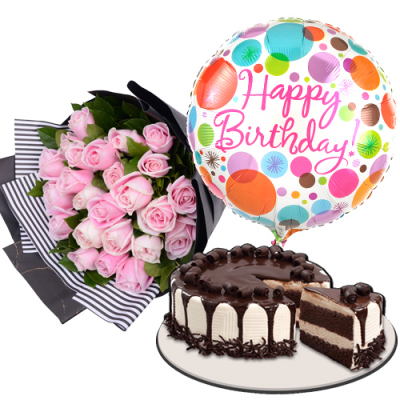 send 24 pink roses with cake and balloon to cebu