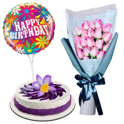 send 20 roses with ube cake and birthday balloon to cebu