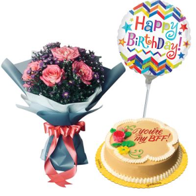 send peach roses with cake and birthday balloon to cebu