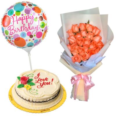 send orange roses with cake and birthday balloon to cebu