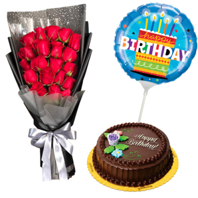 send birthday balloon with roses and cake to cebu