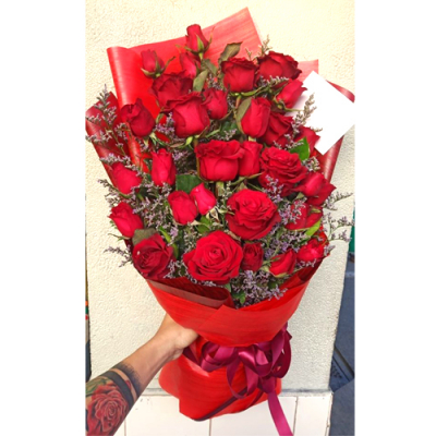 A Bouquet of 24 Fresh Red Roses