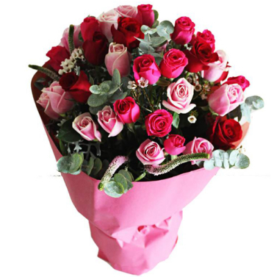 36 red and pink roses bouquet to cebu