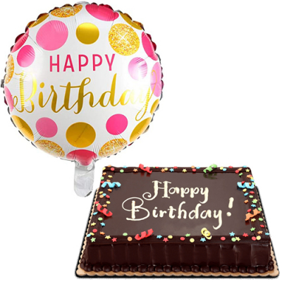 Chocolate Dedication Cake with Birthday Balloon