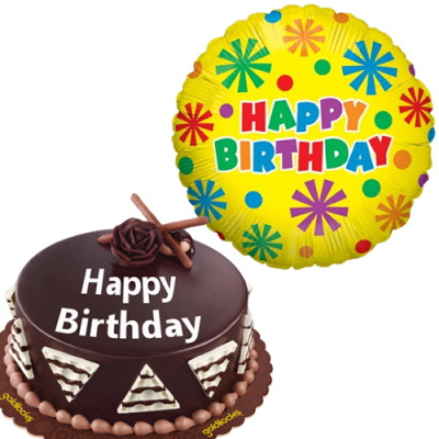 All About Chocolate Cake with Birthday Mylar Balloon