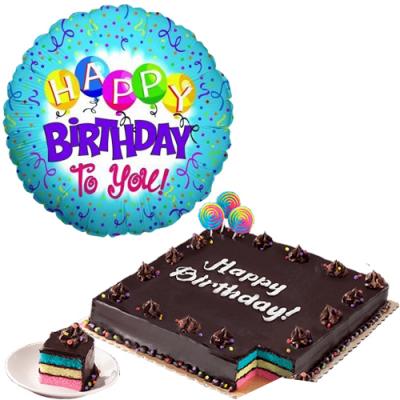 Birthday Mylar Balloon with Rainbow Dedication Cake