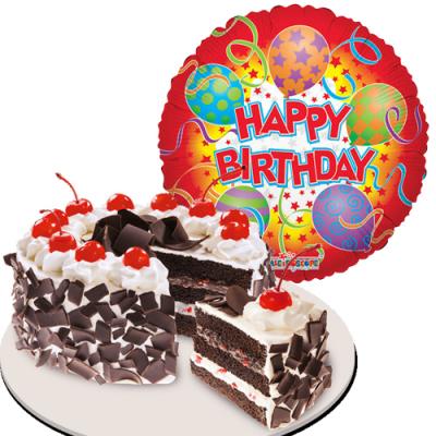 Birthday Mylar Balloon with Black Forest Cake