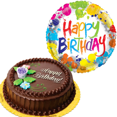 Chocolate Chiffon Cake with Birthday Mylar Balloon