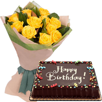 12 Pcs. Yellow Rose Bouquet with Birthday Cake
