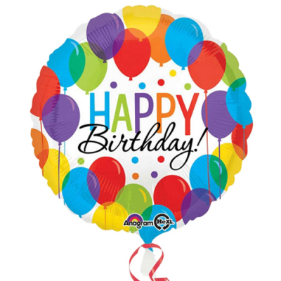 Single Pc. Round Birthday Mylar Balloon