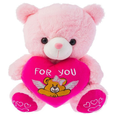 Small Size Pink Teddy Bear with Love Pillow