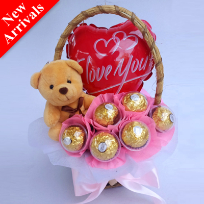 Valentine's Chocolate, Bear and Balloon in Basket
