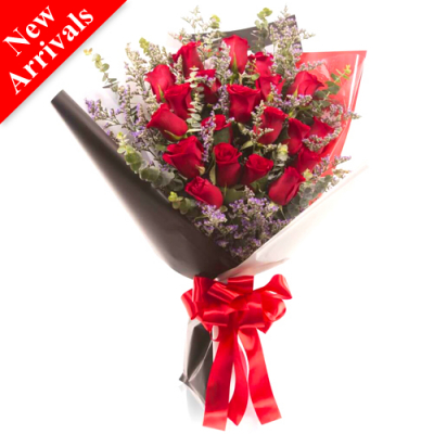 20 pcs. Red Roses in Bouquet