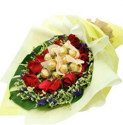 send 12 Pcs ferrero rocher chocolate encircled with 12 red roses to philippines