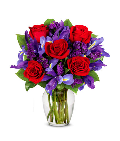 6 red roses with purple static in vase to cebu