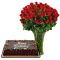 red rose vase with red ribbon chocolate cake