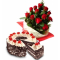 12 red rose bouquet with black forest cake to cebu