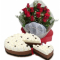 12 red rose with red ribbon mousse cake to cebu