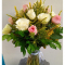 send 12 white and pink color roses in vase to cebu