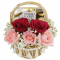 send 5 pcs. roses with chocolate box in basket to cebu