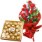 18 Red Roses Bouquet with Ferrero Rocher