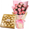 12 Pink Roses Bouquet with 24 Ferrero Rocher Chocolate