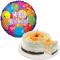 Peach Mango Cake with Birthday Mylar Balloon