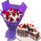 12 Pcs. Red Roses Bouquet with Black Forest Cake