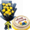 12 Pcs Roses Bouquet with Birthday Dedication Cake