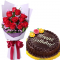12 Red Roses Bouquet with Chocolate Cake